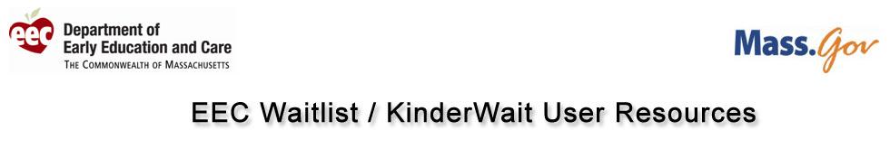 EEC Waitlist / KinderWait User Resources